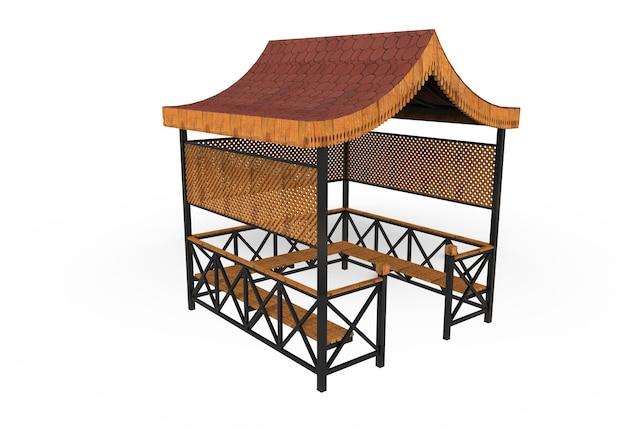 3d realista um jardim coberto de madeira banco triângulo telhado camélia no fundo branco