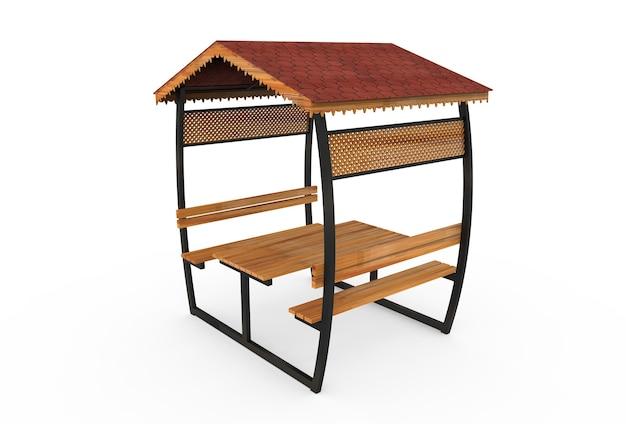 3d realista um jardim com telhado de madeira camélia oval de banco em fundo branco