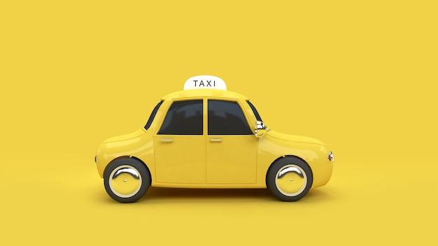 3d redering amarelo táxi transporte viajar citadina comunicação