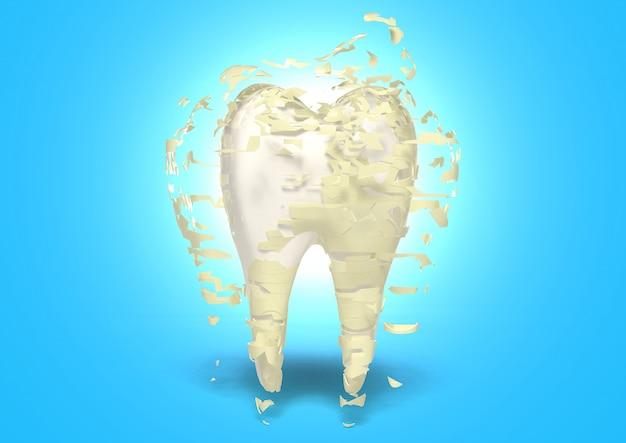 3d rende a limpeza do dente, protege da deterioração de dente, conceito do alvejante do dente, clareamento dos dentes