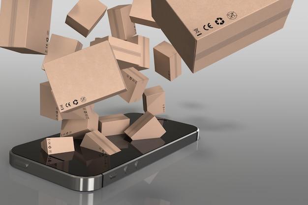 3d rendem a caixa fora do smartphone, comprando em linha.