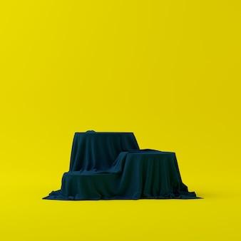 3d rendem a cena abstrata do pódio da forma da geometria com fundo amarelo para a exposição e o produto