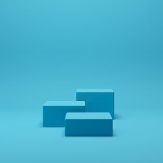 3d rendem a cena abstrata do pódio da forma da geometria com fundo azul para a exposição e o produto