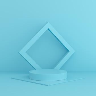 3d rendem a cor ascendente trocista do azul da cena. parede de pódio de forma de geometria para o produto.