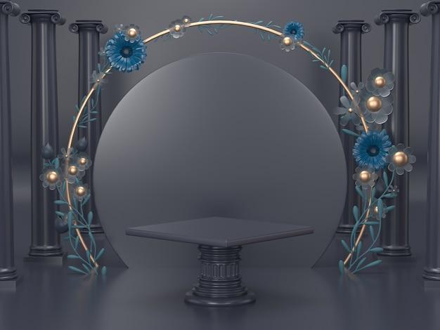 3d rendem a exposição cosmética luxuosa do carrinho. decoração do pódio para o fundo cosmético com design romano e floral.