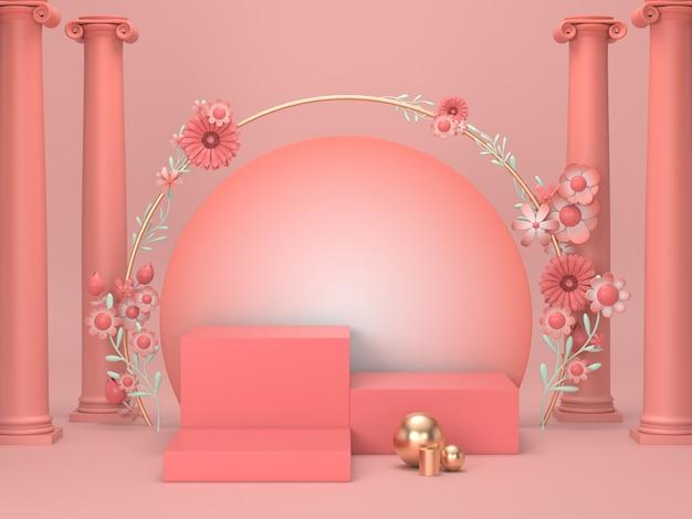 3d rendem a exposição cosmética luxuosa do suporte. o suporte cor-de-rosa do pódio para o fundo cosmético com design romano e floral decora.