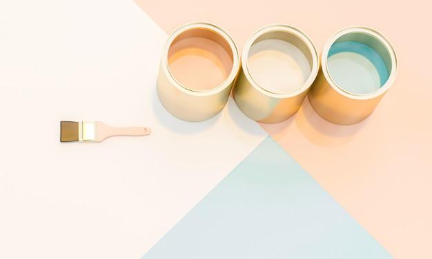 3d rendem a imagem de latas e de escovas da pintura