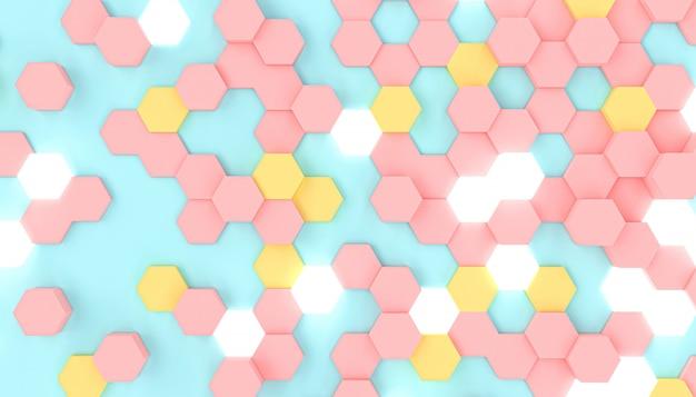 3d rendem a imagem de um fundo geométrico com formas sextavadas