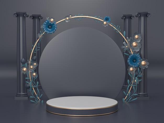 3d rendem a imagem do fundo preto do pódio do suporte do produto para o produto cosmético da beleza ou algum objeto style.podium luxo clássico.