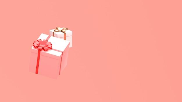 3d rendem a imagem do isolado do ornamento do ano novo do natal no fundo do rosa do espaço da cópia.