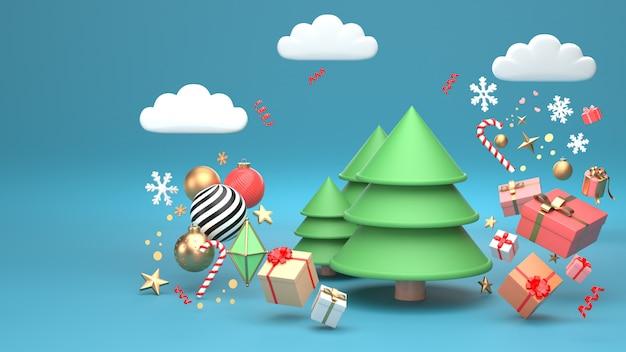 3d rendem a imagem do projeto da árvore de natal para o feriado do natal decorar pela forma geométrica do ornamento e giftbox.