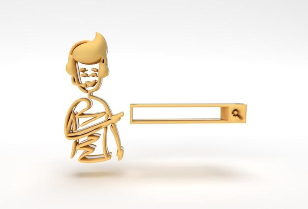 3d rendem a mão do homem apontando o dedo para a barra de pesquisa, ilustração 3d dos desenhos animados.