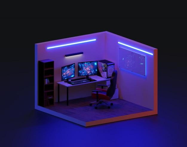 3d rendem a sala de jogo isométrica, ilustração 3d.