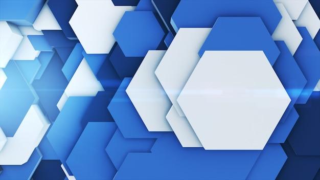 3d rendem abstratas coloridas muitos hexágonos geométricos técnicos como uma onda