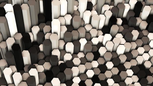 3d rendem abstratas coloridas muitos hexágonos geométricos técnicos
