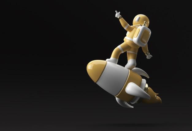 3d rendem astronauta astronauta voando com foguete ilustração 3d design.