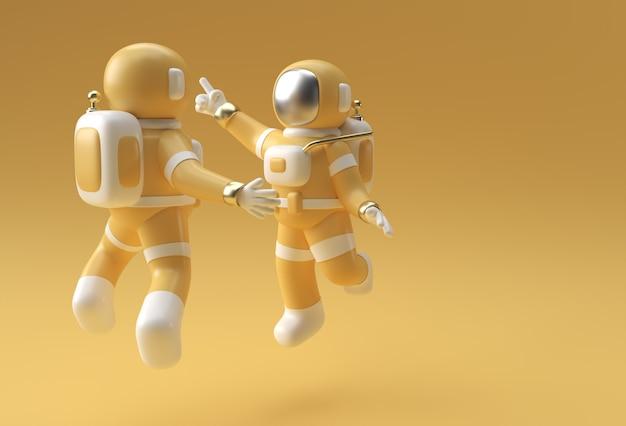 3d rendem astronauta pulando em ação ilustração 3d design.