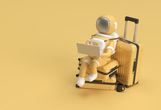 3d rendem astronauta trabalhando no laptop sentado na bolsa de viagem ilustração 3d design.
