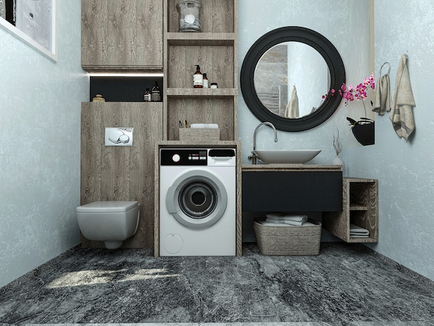 3d rendem. casa de banho interior de design.