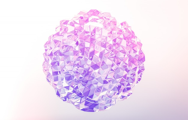 3d rendem. cristal geométrico abstrato, gema iridescente, facetada.
