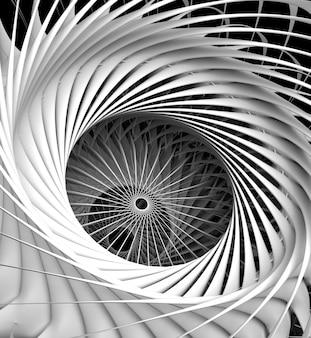 3d rendem da arte abstrata do detalhe industrial surreal da maquinaria monocromática preto e branco de motor a jato de aeronaves de turbina