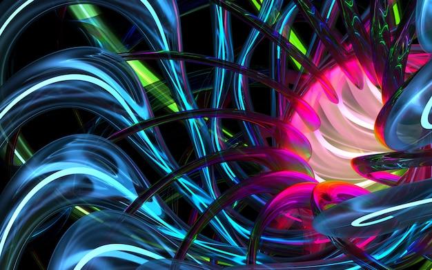 3d rendem da arte fundo 3d com parte da flor ou turbina abstrata com base em tubos de vidro de linhas redondas onduladas de curva com brilhantes no elemento de luz azul e verde de néon dentro no preto