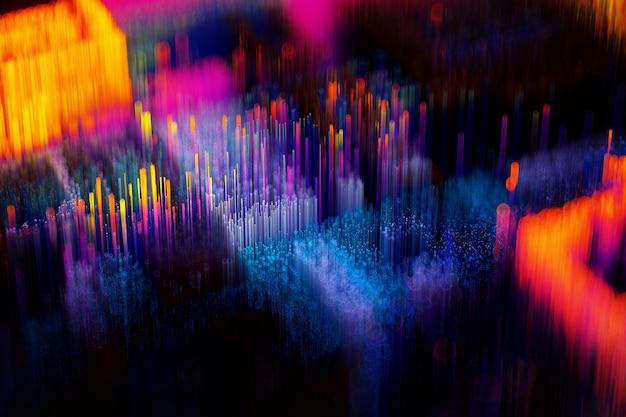 3d rendem da arte fundo surreal surreal da paisagem da dispersão 3d com os microchips abstratos processadores e transistores baseados em pequenos cubos longos ou partículas de varas em laranja amarelo azul e roxo
