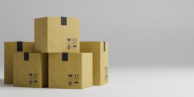 3d rendem da caixa de papelão no conceito de entrega e envio.