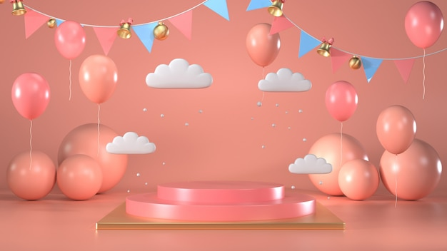 3d rendem da cena redonda brilhante do suporte do pódio com rosa e balões