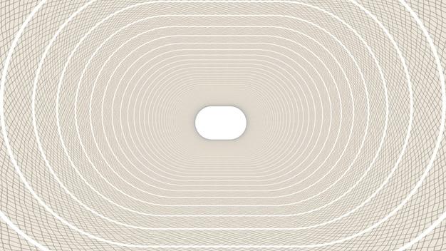 3d rendem da forma abstrata da elipse no fundo do túnel