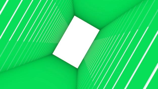 3d rendem da forma abstrata do retângulo no fundo do túnel