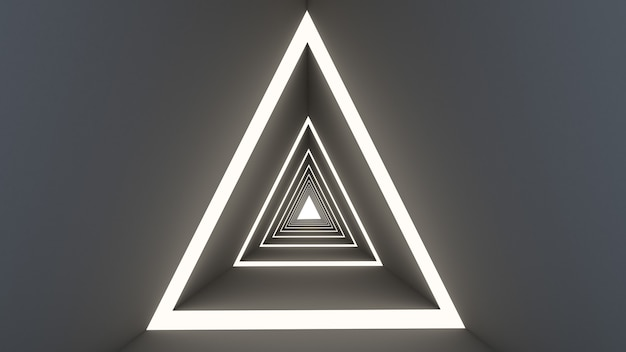 3d rendem da forma abstrata do triângulo no fundo do túnel