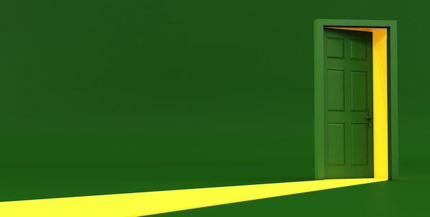 3d rendem da ideia verde de porta aberta. porta aberta verde sobre fundo verde.