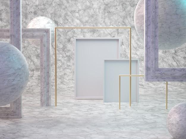 3d rendem da sala de mármore abstrata