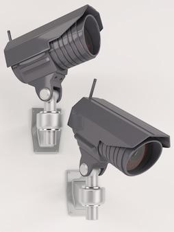 3d rendem de câmera de segurança cctv