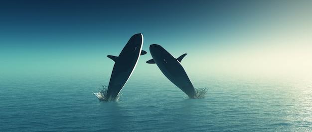 3d rendem de duas baleias saltam no mar