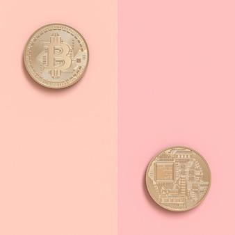 3d rendem de duas moedas do bitcoin no dobro tomado partido
