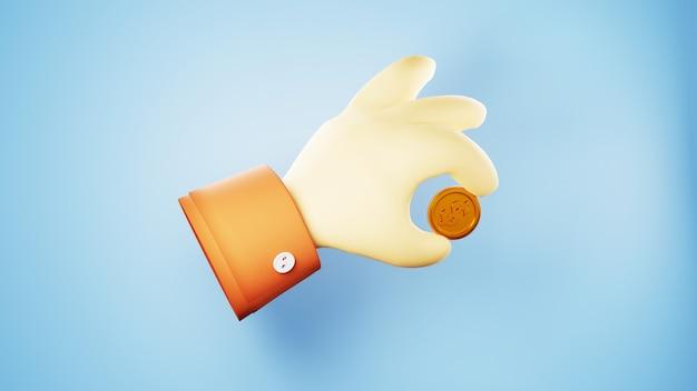 3d rendem de mão e moeda de ouro. negócios on-line e e-commerce no conceito de compras na web. transação de pagamento online segura com smartphone.