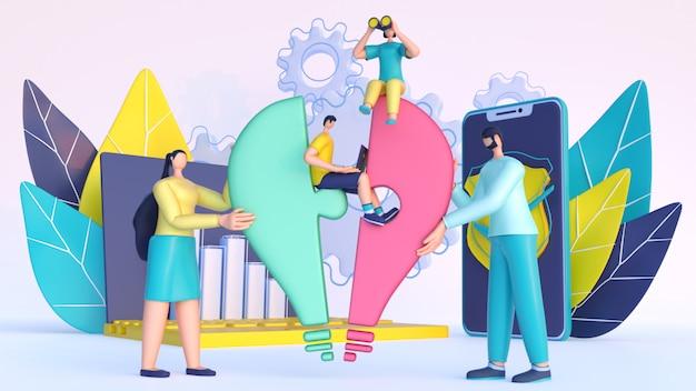 3d rendem de pessoas de negócios, trabalhando juntos, crescimento da empresa ou sucesso completo