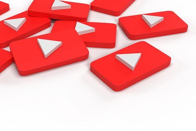 3d rendem de red regtangle play botton na parede branca