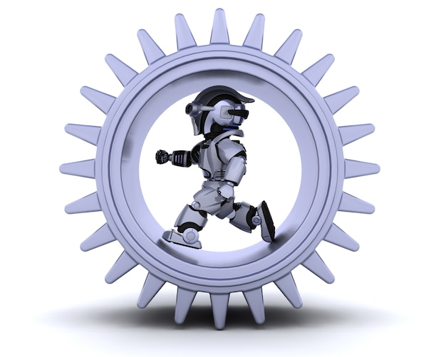 3d rendem de robôs com mecanismo de engrenagem