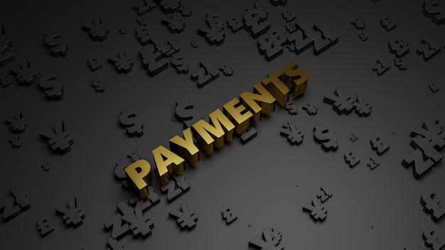 3d rendem de texto de pagamento metálico dourado no fundo escuro da moeda.