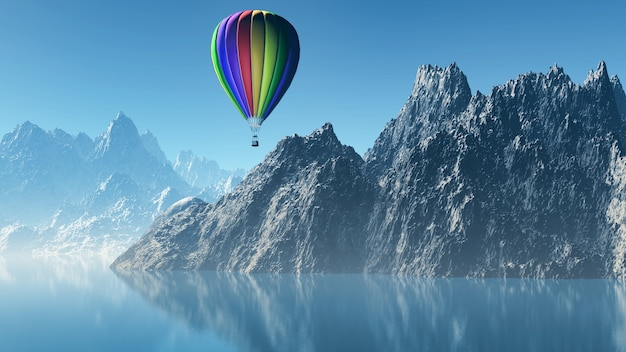 3d rendem de um balão de ar quente que flutua sobre montanhas altas