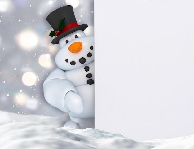 3d rendem de um boneco de neve que prende um sinal em branco