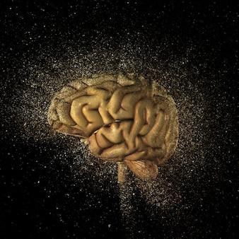 3d rendem de um cérebro com um efeito de glitter explosão