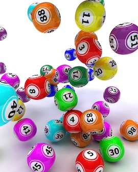 3d rendem de um conjunto de bolas de bingo colouored
