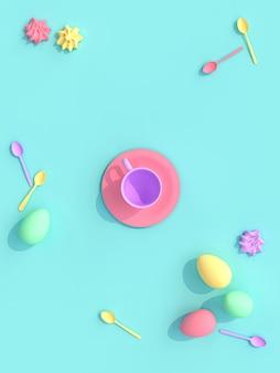 3d rendem de um copo com doces e ovos,