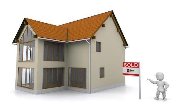 3d rendem de um corretor de imóveis mostrando uma propriedade