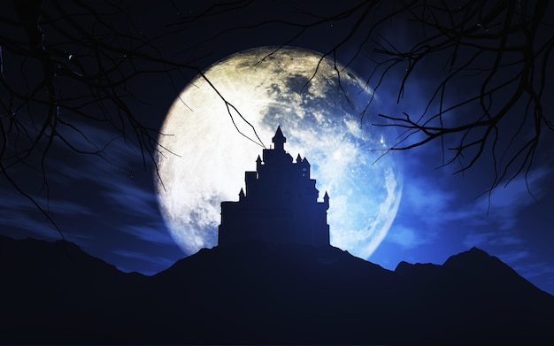 3d rendem de um fundo de halloween com um castelo assustador contra um céu iluminado pela lua
