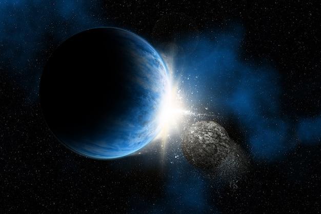 3d rendem de um fundo do espaço com planetas fictícios rocha asteróide